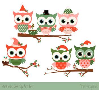 Cute Christmas owls clipart set, Christmas owls on tree br