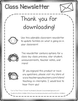 Cute Classroom Newsletter
