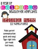 Editable Newsletter Templates (12 included): Cute Seasonal Theme