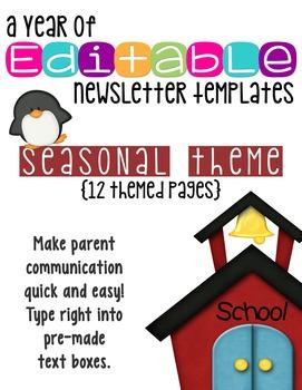 Editable Newsletter Templates (12 included): Seasonal Theme