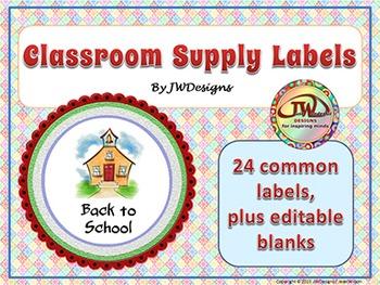 EDITABLE Classroom Supply Labels EDITABLE School Supply Labels