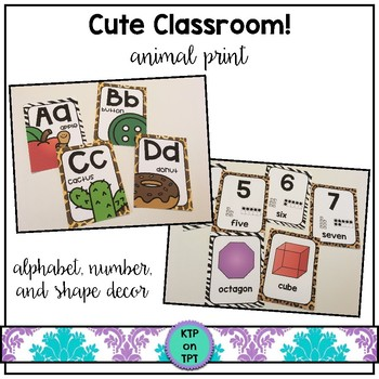Cute Classroom! (animal print alphabet, number and shape classroom decor)