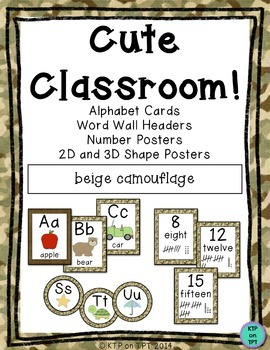 Cute Classroom! (camo and brown alphabet and number decor)