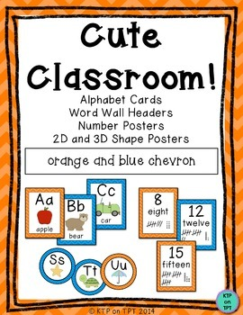 Cute Classroom! (orange and blue chevron alphabet and numb