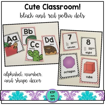 Cute Classroom! (red and black polka dots alphabet and num