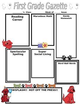 Cute Clifford Classroom Newsletter