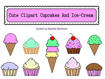 Desserts, Cupcakes, and Ice Cream (Cute Clipart)