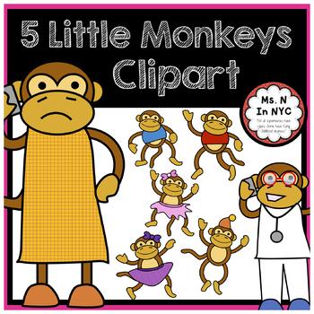 Cute Clipart for 5 Little Monkeys Song/Story