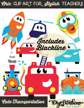 Car clip art- commercial use firetruck, helicopter, cars, trucks, train