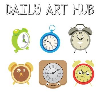 Cute Clocks Clip Art - Great for Art Class Projects!
