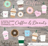 Cute Coffee Clipart Set, Coffee Cups, Teacup, Donut Graphi