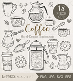 Cute Coffee Illustration Set, Coffee Clip Art Set, Café Clip Art, Coffee Vector