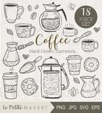 Cute Coffee Illustration Set, Coffee Clip Art Set, Café Clip Art, Coffee Vector