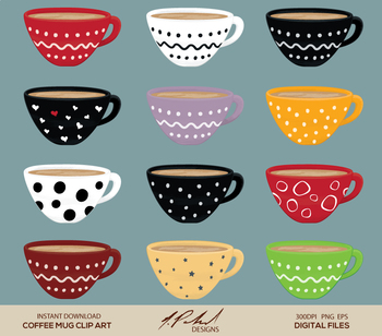 Cute Coffee Mug Digital Clip Art - Digital File - Coffee C