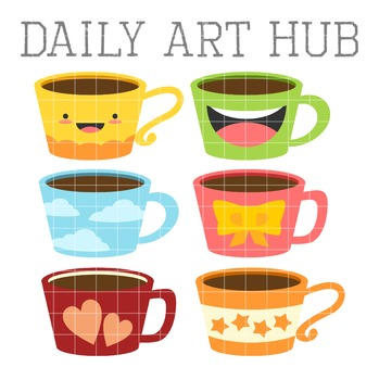 Cute Coffee Mugs Clip Art - Great for Art Class Projects!