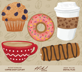 Cute Coffee Shop Digital Clip Art - Digital File Coffee Clipart Muffin Clipart