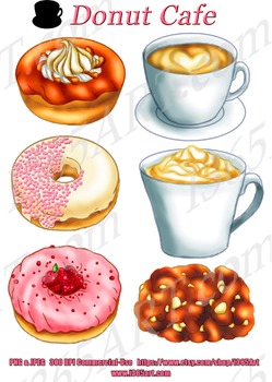 Cute Coffee and Donuts Clipart Graphics Set