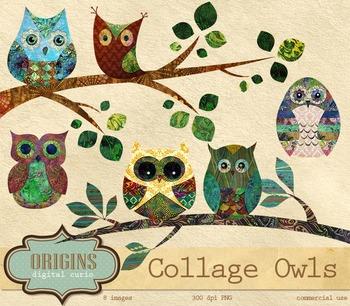 Cute Collage Batik Owls