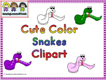Cute Color Snakes Clipart