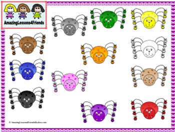 Cute Color Spiders With Shoes Clipart