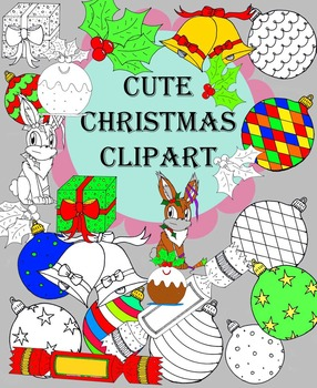 Cute Colored and BW Christmas Clipart