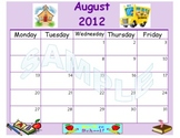 Cute & Colorful 2012-13 5 Day Calendars: You Can Type in Events