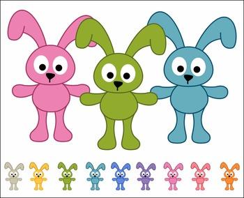 Cute Colorful Bunnies Digital Clip Art