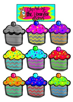 Cute Colorful Calorie-Free Cupcakes Clip Art on Notebook Paper
