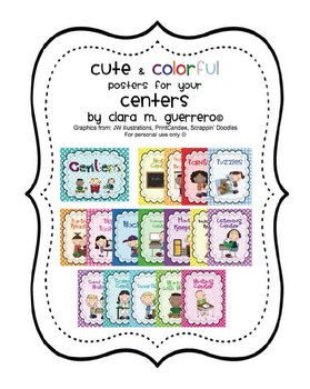 Cute & Colorful Centers Posters in Two Sizes