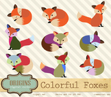 Cute Colorful Foxes Clipart for Commercial Use