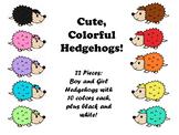 Cute Colorful Hedgehog Clip Art Theme