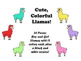 Cute Colorful Llama Theme Clip Art