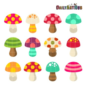 Cute Colorful Mushrooms Clip Art - Great for Art Class Projects!