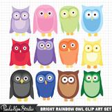 Bright Rainbow Owl Clip Art