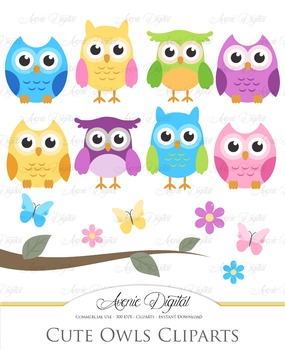 Cute Colorful Owl Cliparts -baby bird clip art
