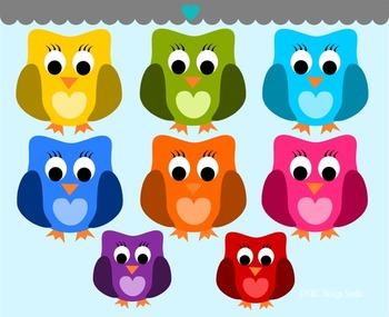 Cute Colorful Owls Clip Art