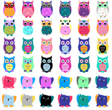 Cute Colorful Owls Clip Art - Vector SVGs - Great for Badg