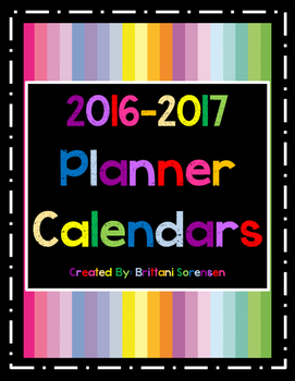 Cute, Colorful Planner Calendar for 2016-2017