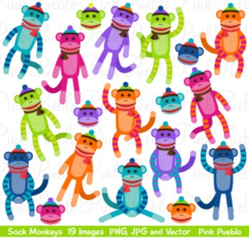 Cute Colorful Sock Monkeys Clip Art Clipart