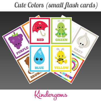Cute Colors (small flash cards) Instant Download PDF; Pres