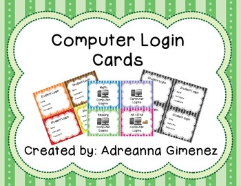Cute Computer Login Cards