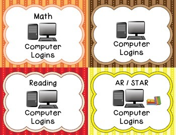 Cute Computer Login Cards