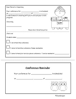 Cute Conference Request and Reminder Form in Color and Black & White