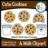 Cute Cookies & Milk Clipart-with digital papers & border