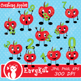 Cute Counting Apples Digital Clipart