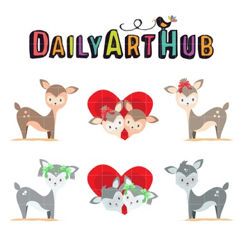 Cute Couple Deers Clip Art - Great for Art Class Projects!