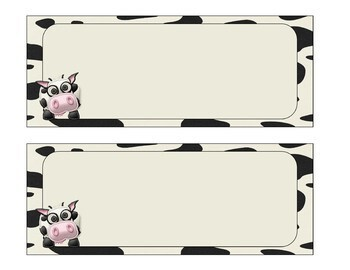 Cute Cow Themed Labels/Name Plates - Classroom Decor