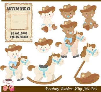 Cute Cowboy Babies Clip Art Set