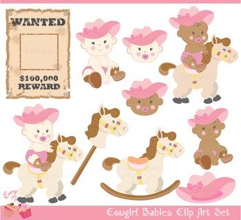 Cute Cowgirl Babies Clip Art Set