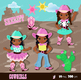 Cute Cowgirl Clipart Multicultural Western Graphics Personal and Commercial Use